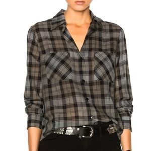 Enza Costa Distressed High Low Button Up Top E20
